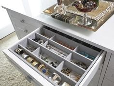 Drawer Inserts for Jewelry. 12 Must-Haves for a Dream Closet --> http://www.hgtv.com/specialty-rooms/12-steps-to-your-dream-closet/pictures/page-10.html?soc=pinterest