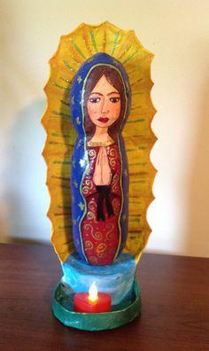 Paper mache Virgin Virgen de Guadalupe papel mache By YOLARTE  by CRAFTYOLY, $60.00