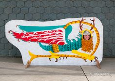 Amy playing the part of the Piasa Bird outside of the Melvin Price Locks and Dam/ National Great Rivers Museum