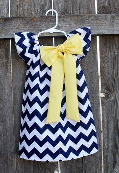 Navy Yellow Chevron Bow Peasant Dress - Baby Girl