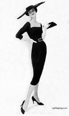 1950's Black on Black Head to Toe, Love the Bag, Love the Shoes .. Lurve the Dress - Vogue Oct 1956