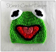 Kermit the Frog , Muppet , Handdmade , Phot Prop , Crochet Hat Beanie. $19.99, via Etsy.
