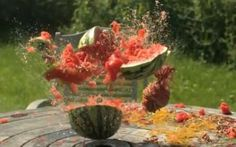 Watch a watermelon explode into thousands of pieces with the force of rubber bands...all in slow-mo.