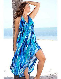 Beach Belle Plus Size Mediterranean Halter Maxi Dress sonsi.com