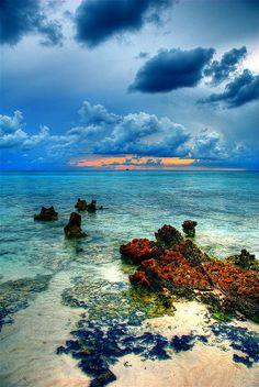Cayman Island Reef, Grand Cayman, at sunset.
