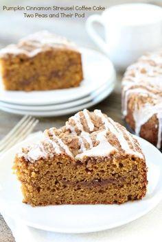 Pumpkin Cinnamon Streusel Coffee Cake Recipe on twopeasandtheirpod.com Great for breakfast or brunch!