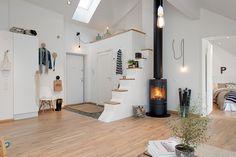 cylinder stove stove, scandinavian design, lofts, scandinavian interior design, fireplac, scandinavian interiors, design interiors, apartments, entryway