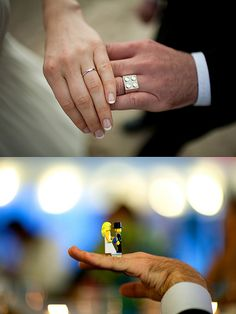 Wedding ring with bride and groom