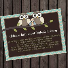 I love the wording   and idea!  bring a book instead of a card insert  Baby by AmysSimpleDesigns, $6.00