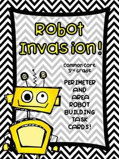 Third Grade perimeter and area performance task cards. Build a robot to given design specs-fun!