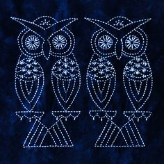 Two Owls Sashiko design by Sylvia Pippen