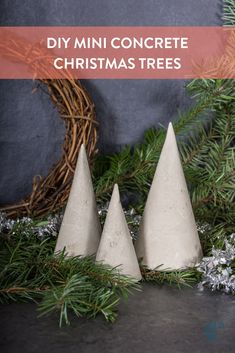 "Pour your own mini concrete tabletop Christmas trees. #[""Christmas"", ""Curbly-Original"", ""decor"", ""holidays"", ""concrete"", ""cement"", ""concrete"", ""cement"", ""minimalist"", ""industrial"", ""DIY"", ""accessories""]"