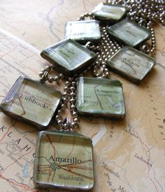 TEXAS ROAD TRIP soldered map necklace     $18.00     @outoftheblue