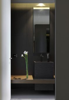 All black bathroom. The Powder room | pretty much exactly what I want it to look like | I got really excited when I saw this realized!
