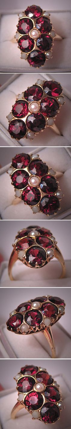 Garnets+Pearls+Opals=<3. Antique Victorian ring from AawsombleiJewelry on Etsy.