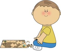 Boy playing with a puzzle from MyCuteGraphics graphic, school kids, school borden, clipart bimbi