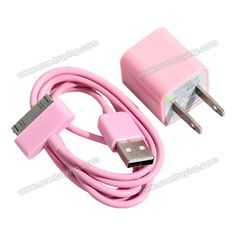 Mini 2 in 1 Charger Kit (US Standard USB Power Adapter + USB Cable) for iPhone 4/4S/3GS/3G (Pink)
