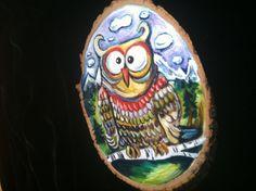 Owl plaquewooden rustic with bark Oil original by MelissaBollenart, $20.00