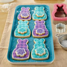 Plaid jewel-tone cottontail Bunny Cookies