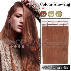 20 Inch 20pcs Tape Premium Remy Human Hair Extensions Straight (#33 Rich Copper Red)