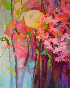 botanical art, acrylic painting, The Sun & Tropical Cherry Blossoms