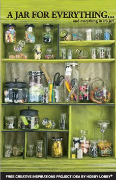 A jar for everything...and everything in its jar! Organize your odds and ends with jars in a variety of shapes and sizes.