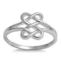 Sterling Silver Ring size 8 Celtic Knot Infinity Heart Love Weave Eternity p27