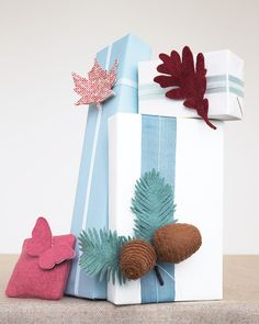Felt accents for wrapping gifts.