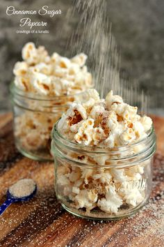 Cinnamon Sugar Popcorn | My special cinnamon sugar mix over top of perfectly buttered fresh popcorn. You are going to love this one! cinnamon sugar, perfect butter, cinnamon popcorn recipes, fresh popcorn, mason jar snacks, pop sugar food, sugar mix, cinnamon and sugar popcorn, butter fresh