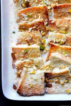 cardamom + saffron bread pudding