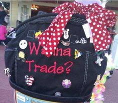 """Looking to swap some Disney pins? Show them off on a Retro Metro Tote embroidered with """"Wanna trade?"""" What a great idea, beats carrying them on a lanyard."""