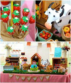 Farm + Barnyard themed birthday party via Kara' s Party Ideas KarasPartyIdeas.com Recipes, cakes, printables, games, favors, and MORE! #farm...