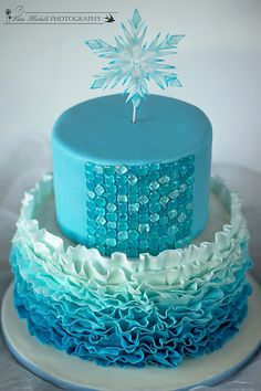 frozen hard candy mold | wanted a more abstractly designed cake: Ombre fondant ruffles ...