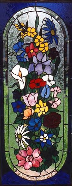 Beveled floral stained glass.