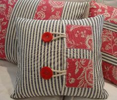 FRencH ToiLe and TiCKiNg PiLLoW by Sassycatcreations on Etsy, $32.00