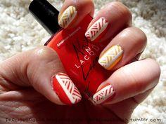 coral, orange & white aztec pattern nail art aztec nail, nailart, aztec pattern, nail arts, fabul finger, brush, nails, nail design, pattern nail