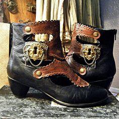 PORTAL  - Steampunk Pirate Assemblage Altered Art Vintage Key Hole Brass Escutcheon Shoe Clips - OOAK. $59.99, via Etsy.