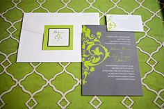 Lime Green, Grey & White wedding invitation. A fun, fresh invite! PolkaDotsandDaisies.com