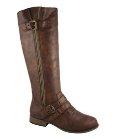 Look at this Brown Zip Chapter Boot on #zulily today!