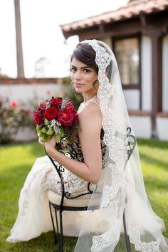 Cream wedding veil, Champagne bridal veil, Cathedral lace veil Mantilla, Beaded Lace. $178.00, via Etsy.
