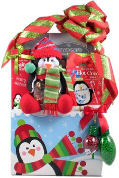 Fun for young and old alike, we've designed our penguin themed holiday gift baskets  to bring joy and peace this holiday season. Our Playful Penguins Christmas Gift Basket is Fun, Whimsical, Playful, Festive, Charming, Wonderful and Delicious. These are just a few words to describe this fantastic holiday gift basket. $44.99 - $84.99  http://www.littlegiftbasketboutique.com/item_1186/Playful-Penguins-Christmas-Gift-Basket.htm