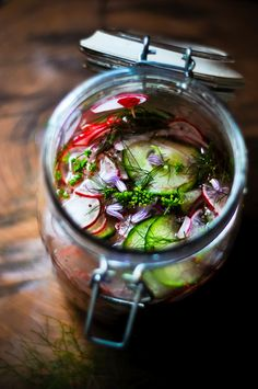 Cucumber, Radish, and Red Onion Pickles with Fresh Herbs