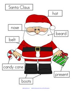 FREE 3 ways to label Santa Claus – cut and paste written labels on top of words; cut and paste written labels on blank labels; or write the words in the blank labels.