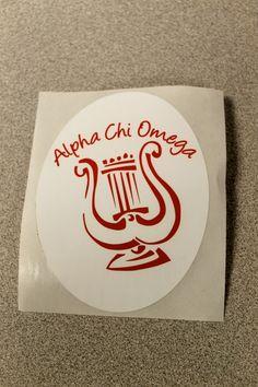 Alpha Chi Omega Red Lyre Sticker