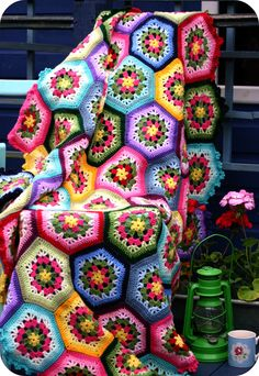 """Inspiration :: Ravelry: stripey-mooka's Japanese Hexagon Throw, pattern from the Japanese book """"Pretty Color Crochet and Knit Goods 2""""  #crochet #afghan #blanket"""