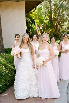 Pale Pink Chiffon Halter Bridesmaid Dresses