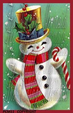 Dapper Snowman Quilt Fabric Block Old Vintage by mermaidfabricshop, $6.99