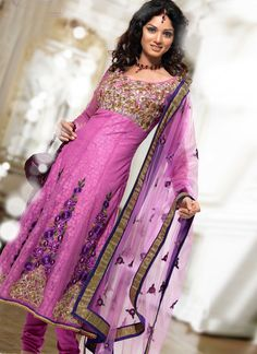 Pink and purple salwar suit