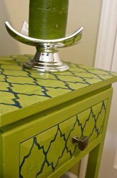 DIY stencil nightstand makeover #valspar paint