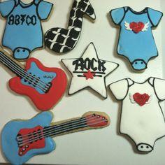 Rock star baby shower cookies.